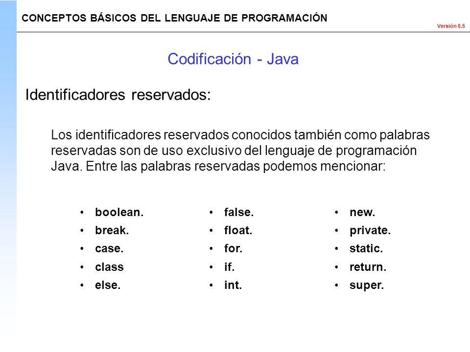 Versión 6.5 Los identificadores reservados conocidos también como palabras reservadas son de uso exclusivo del lenguaje de programación Java. Entre la