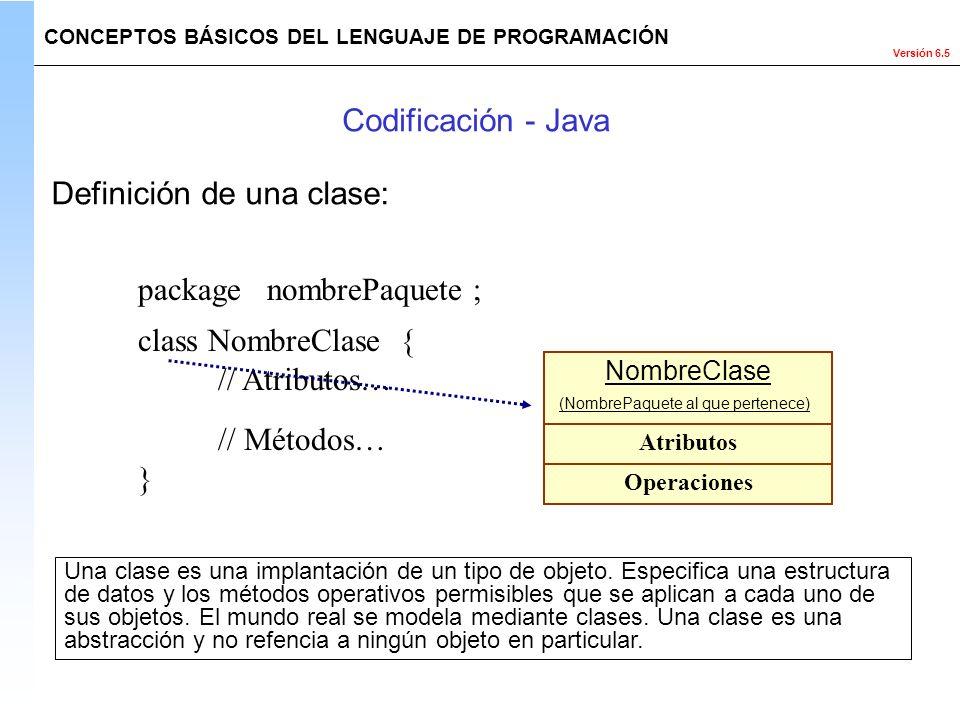 Versión 6.5 package nombrePaquete ; class NombreClase { // Atributos… // Métodos… } NombreClase (NombrePaquete al que pertenece) Atributos Operaciones