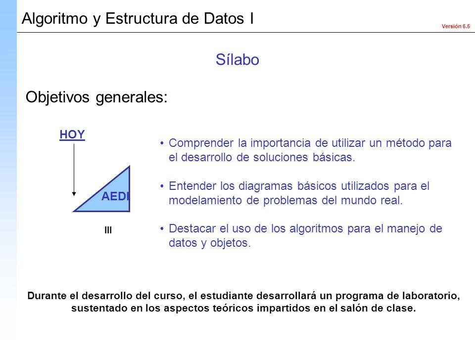 Versión 6.5 Algoritmo y Estructura de Datos I Objetivos generales: Comprender la importancia de utilizar un método para el desarrollo de soluciones bá