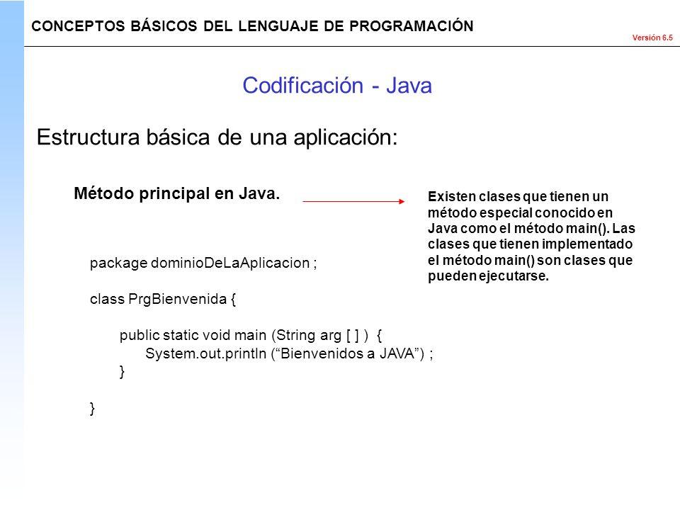 Versión 6.5 package dominioDeLaAplicacion ; class PrgBienvenida { public static void main (String arg [ ] ) { System.out.println (Bienvenidos a JAVA)
