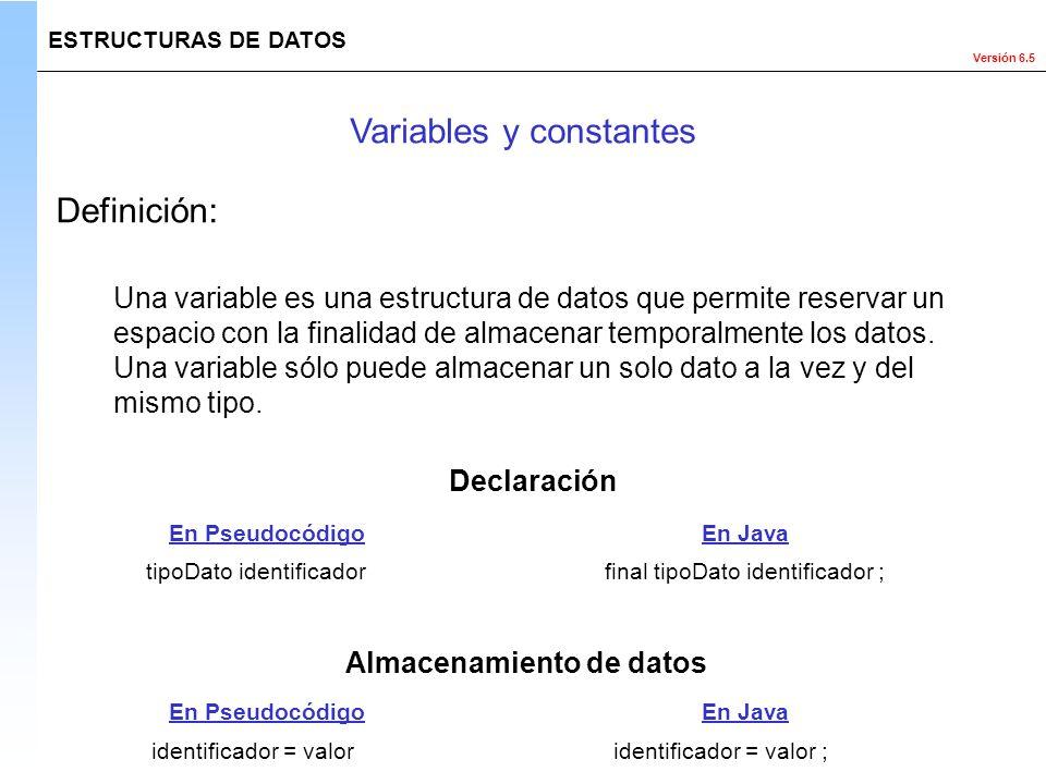 Versión 6.5 ESTRUCTURAS DE DATOS Variables y constantes Definición: Declaración Almacenamiento de datos final tipoDato identificador ; identificador =