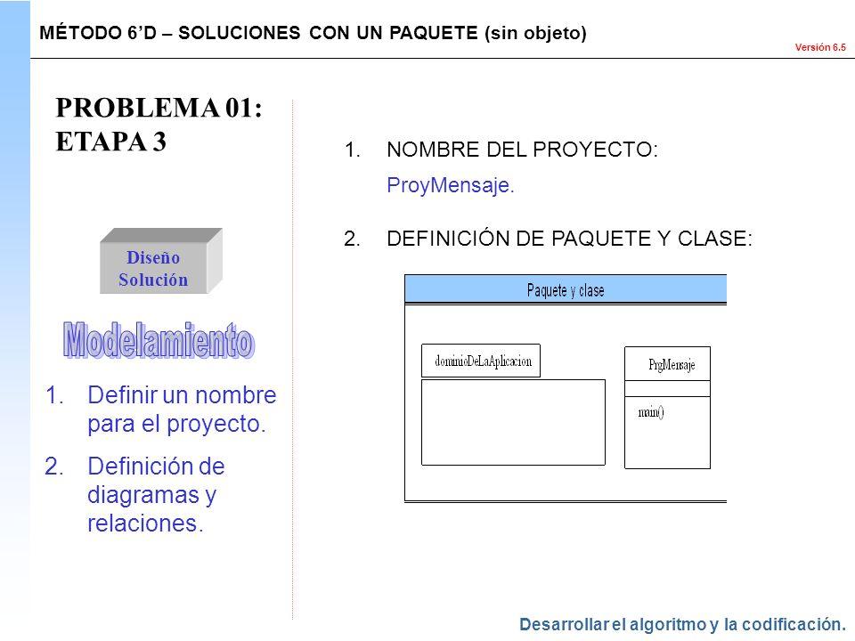 Versión 6.5 PROBLEMA 01: ETAPA 3 Diseño Solución 1.Definir un nombre para el proyecto. 2.Definición de diagramas y relaciones. 1.NOMBRE DEL PROYECTO: