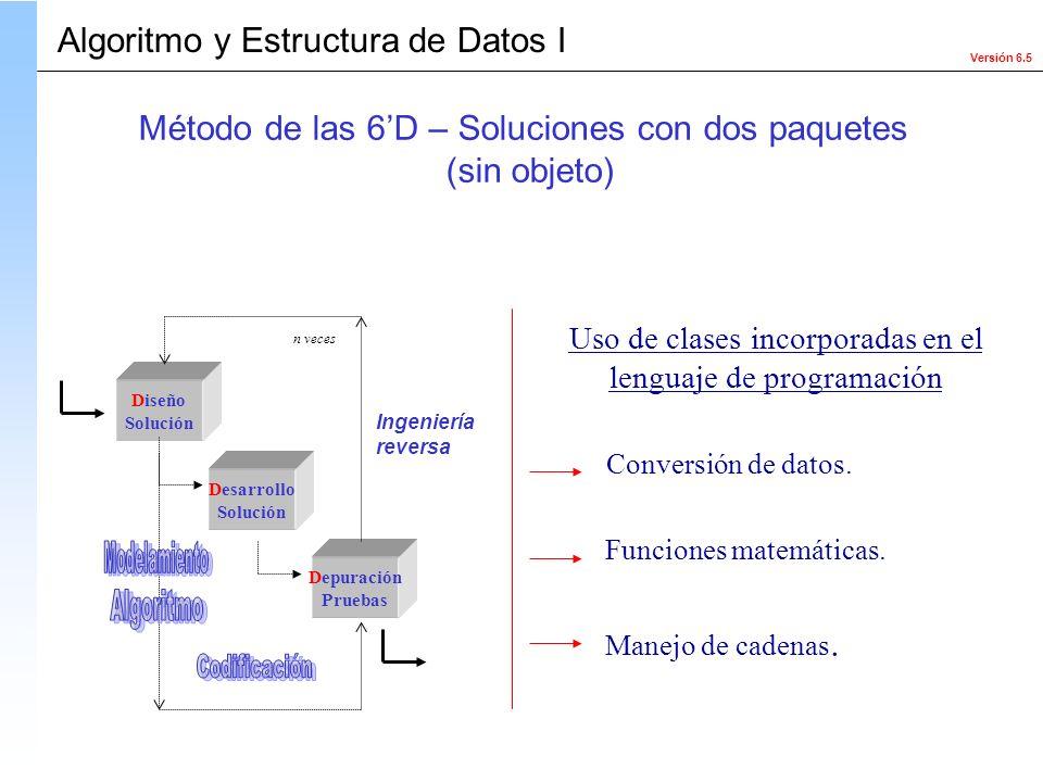 Versión 6.5 Algoritmo y Estructura de Datos I Diseño Solución Desarrollo Solución Depuración Pruebas Ingeniería reversa n veces Uso de clases incorpor