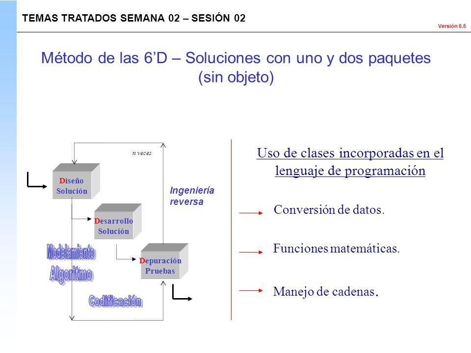 Versión 6.5 Diseño Solución Desarrollo Solución Depuración Pruebas Ingeniería reversa n veces Uso de clases incorporadas en el lenguaje de programació