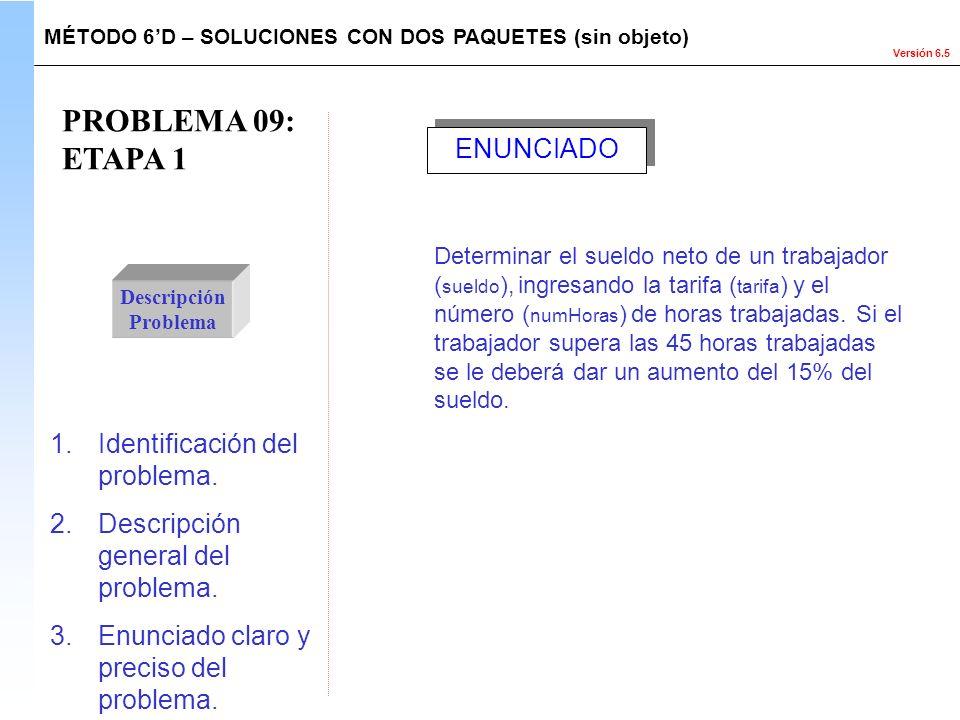 Versión 6.5 PROBLEMA 09: ETAPA 1 Descripción Problema Determinar el sueldo neto de un trabajador ( sueldo ), ingresando la tarifa ( tarifa ) y el núme