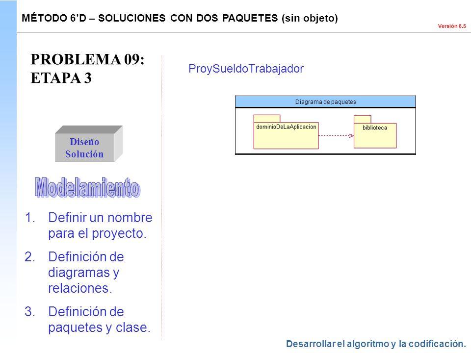 Versión 6.5 PROBLEMA 09: ETAPA 3 Diseño Solución MÉTODO 6D – SOLUCIONES CON DOS PAQUETES (sin objeto) Diagrama de paquetes ProySueldoTrabajador Desarr