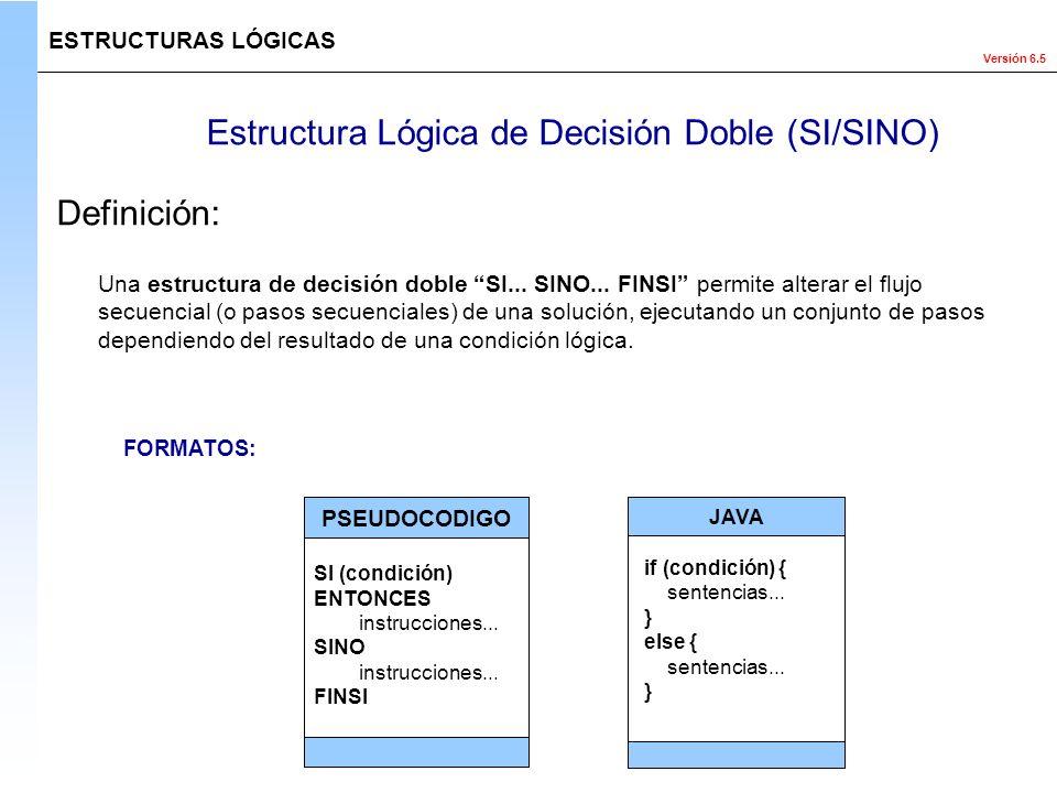 Versión 6.5 Estructura Lógica de Decisión Doble (SI/SINO) Una estructura de decisión doble SI... SINO... FINSI permite alterar el flujo secuencial (o