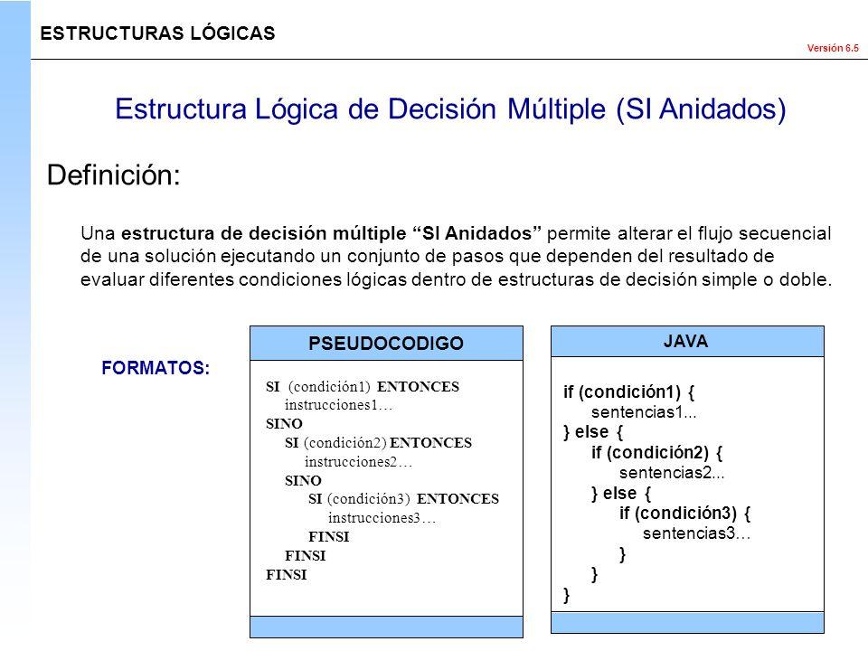 Versión 6.5 Estructura Lógica de Decisión Múltiple (SI Anidados) Una estructura de decisión múltiple SI Anidados permite alterar el flujo secuencial d