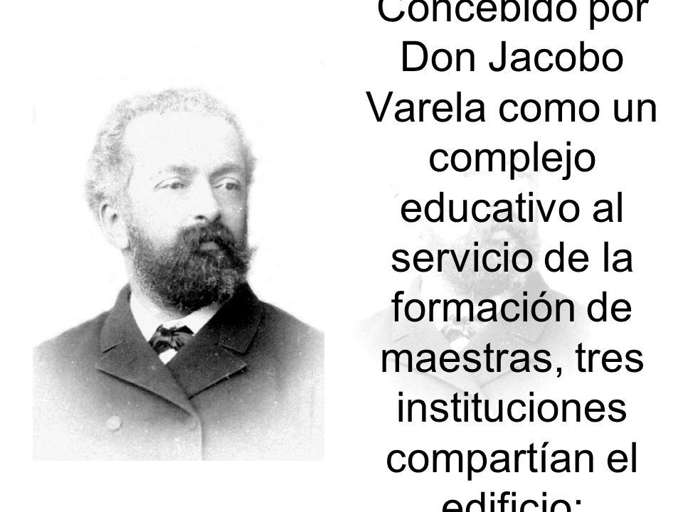 Concebido por Don Jacobo Varela como un complejo educativo al servicio de la formación de maestras, tres instituciones compartían el edificio: