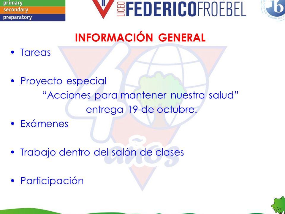 FECHA DE EXAMENES (SEPTIEMBRE-OCTUBRE) Inglés: 21 de septiembre 29 de octubre Ciencias: 26 de septiembre 24 de octubre
