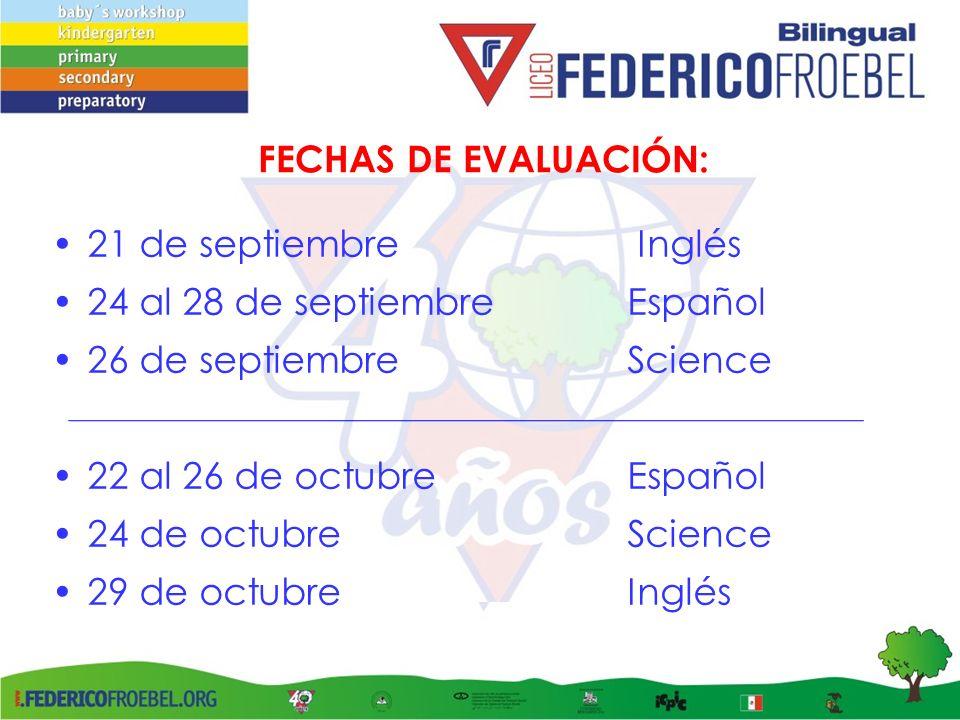 FECHAS DE EVALUACIÓN: 21 de septiembre Inglés 24 al 28 de septiembre Español 26 de septiembreScience 22 al 26 de octubreEspañol 24 de octubreScience 2