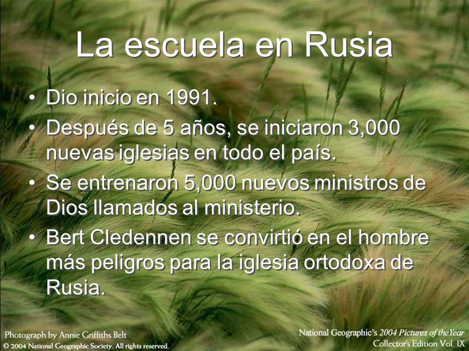 La escuela en Rusia Dio inicio en 1991. Después de 5 años, se iniciaron 3,000 nuevas iglesias en todo el país. Se entrenaron 5,000 nuevos ministros de