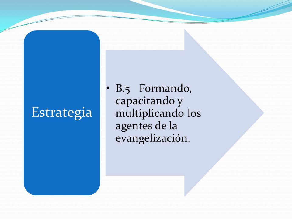 B.5 Formando, capacitando y multiplicando los agentes de la evangelización. Estrategia