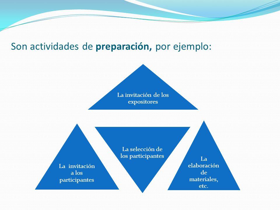 Son actividades de preparación, por ejemplo: La invitación de los expositores La invitación a los participantes La selección de los participantes La e