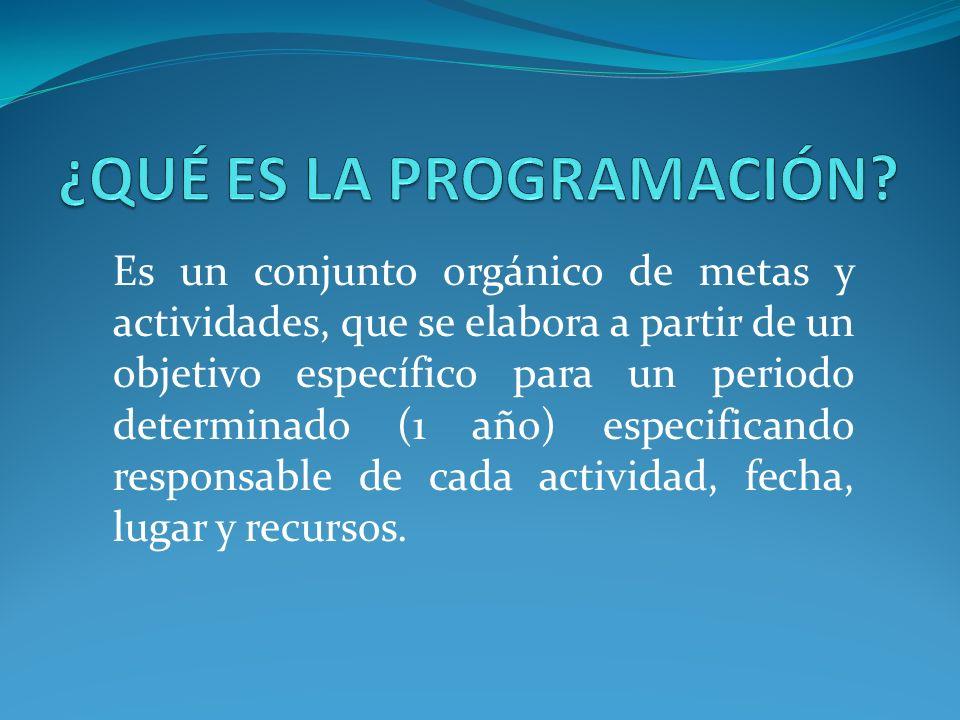 Es un conjunto orgánico de metas y actividades, que se elabora a partir de un objetivo específico para un periodo determinado (1 año) especificando re