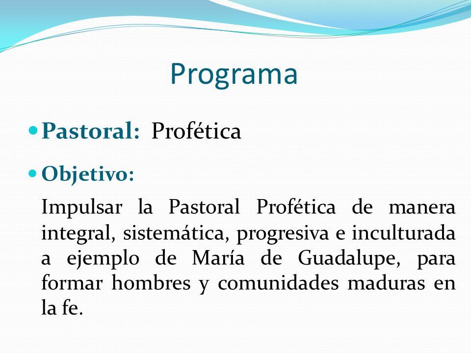Programa Pastoral: Profética Objetivo: Impulsar la Pastoral Profética de manera integral, sistemática, progresiva e inculturada a ejemplo de María de