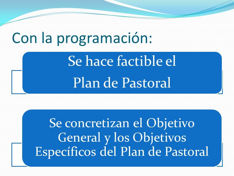 Con la programación: Se hace factible el Plan de Pastoral Se concretizan el Objetivo General y los Objetivos Específicos del Plan de Pastoral