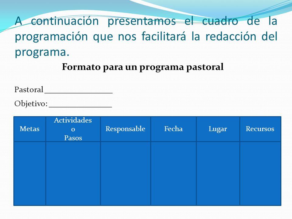 A continuación presentamos el cuadro de la programación que nos facilitará la redacción del programa. Formato para un programa pastoral Pastoral _____
