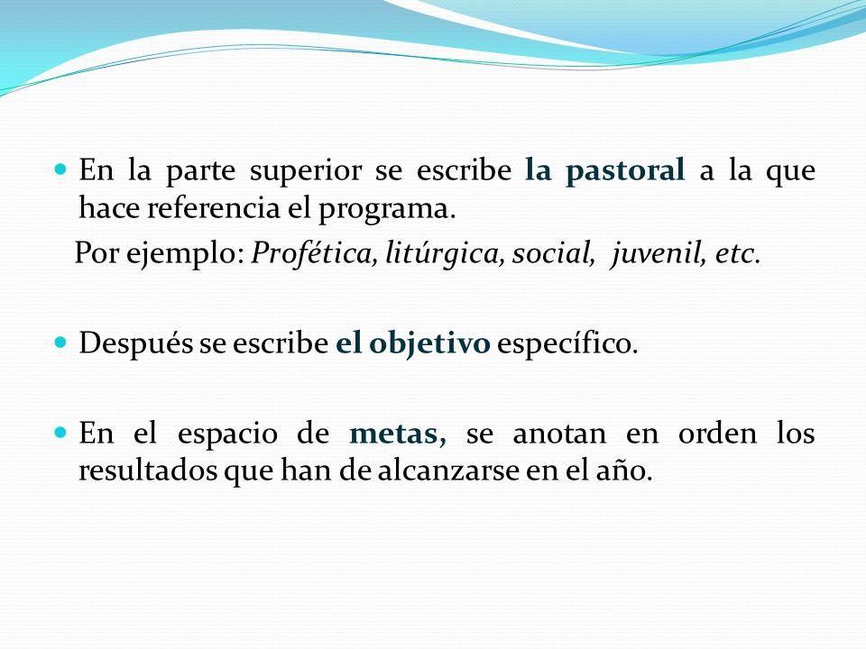 En la parte superior se escribe la pastoral a la que hace referencia el programa. Por ejemplo: Profética, litúrgica, social, juvenil, etc. Después se