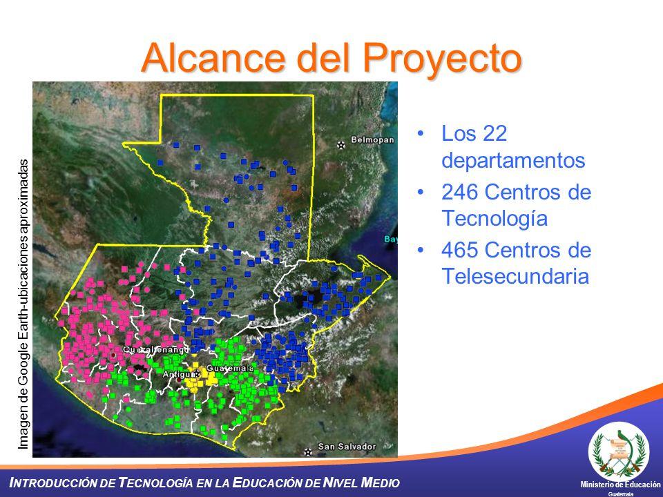 Ministerio de Educación Guatemala I NTRODUCCIÓN DE T ECNOLOGÍA EN LA E DUCACIÓN DE N IVEL M EDIO Alcance del Proyecto Los 22 departamentos 246 Centros