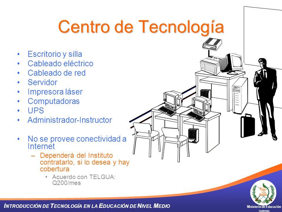 Ministerio de Educación Guatemala I NTRODUCCIÓN DE T ECNOLOGÍA EN LA E DUCACIÓN DE N IVEL M EDIO Centro de Tecnología Escritorio y silla Cableado eléc
