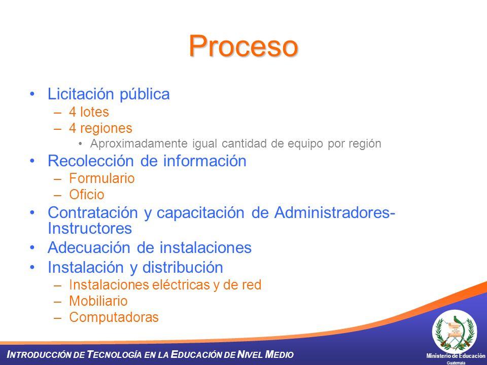 Ministerio de Educación Guatemala I NTRODUCCIÓN DE T ECNOLOGÍA EN LA E DUCACIÓN DE N IVEL M EDIO Proceso Licitación pública –4 lotes –4 regiones Aprox