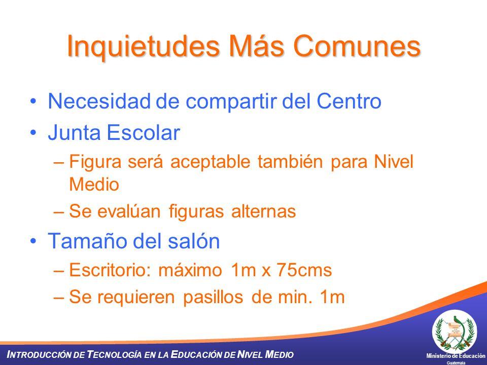 Ministerio de Educación Guatemala I NTRODUCCIÓN DE T ECNOLOGÍA EN LA E DUCACIÓN DE N IVEL M EDIO Inquietudes Más Comunes Necesidad de compartir del Ce