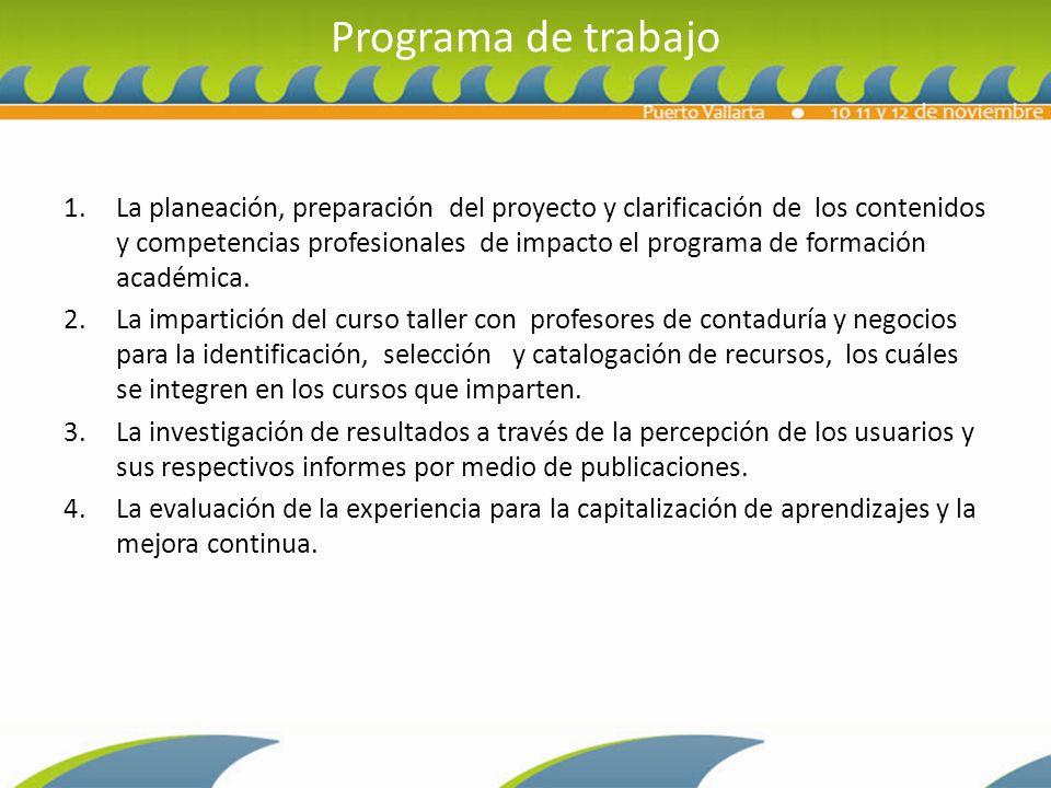 Programa de trabajo 1.La planeación, preparación del proyecto y clarificación de los contenidos y competencias profesionales de impacto el programa de formación académica.