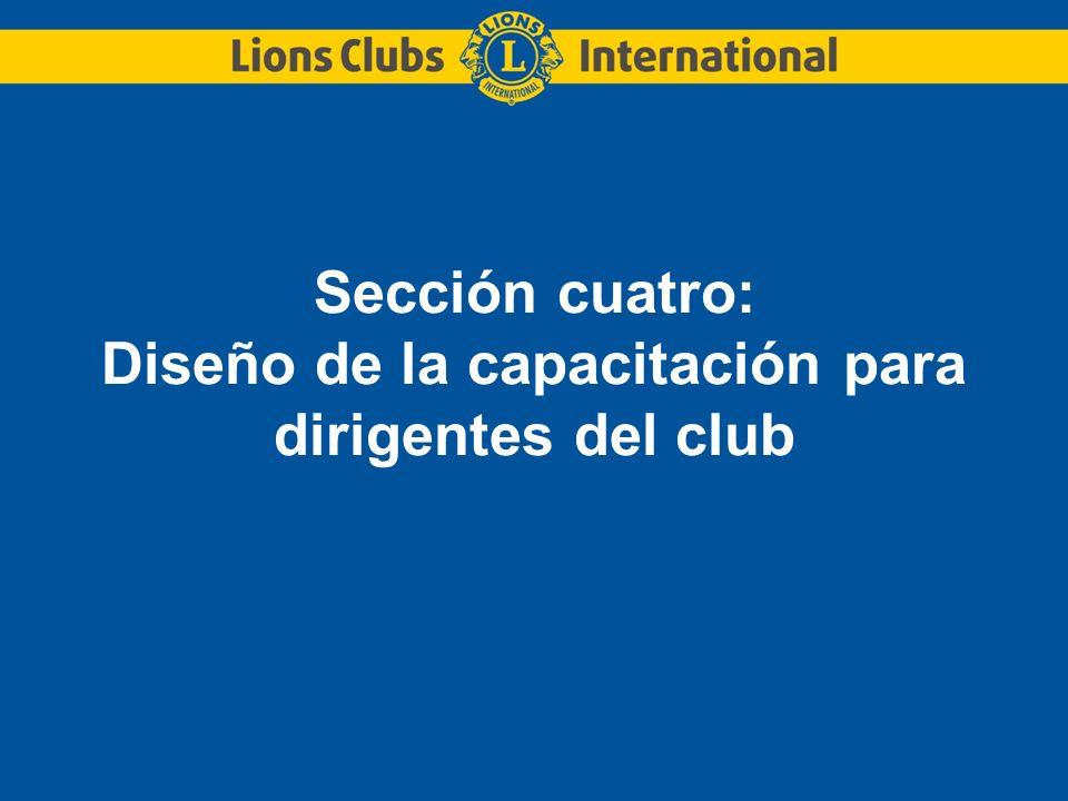 Sección cuatro: Diseño de la capacitación para dirigentes del club