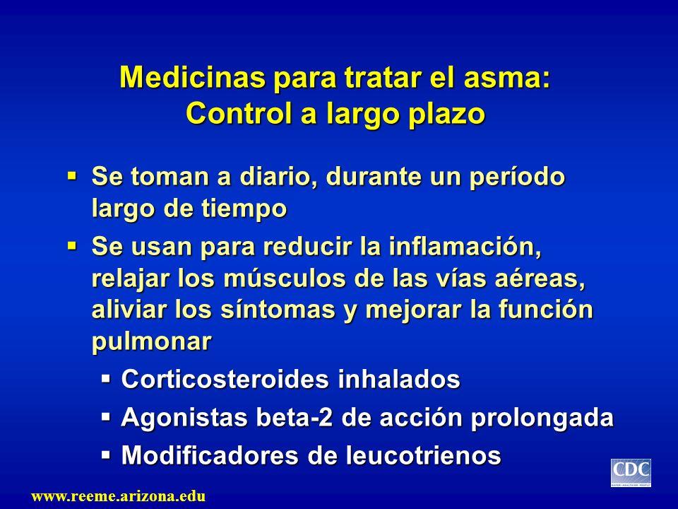 Medicinas para tratar el asma: Control a largo plazo Se toman a diario, durante un período largo de tiempo Se toman a diario, durante un período largo