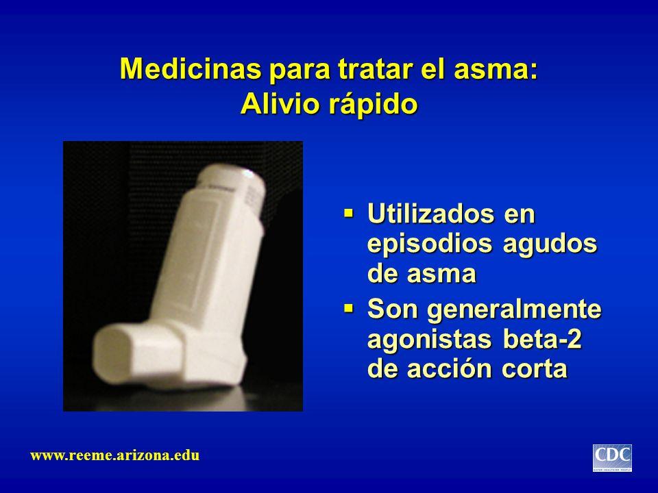 Medicinas para tratar el asma: Alivio rápido Utilizados en episodios agudos de asma Utilizados en episodios agudos de asma Son generalmente agonistas