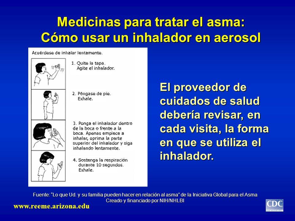 Medicinas para tratar el asma: Cómo usar un inhalador en aerosol El proveedor de cuidados de salud debería revisar, en cada visita, la forma en que se