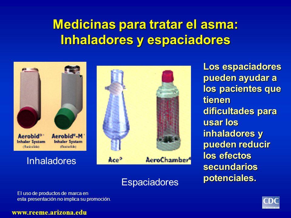 Medicinas para tratar el asma: Inhaladores y espaciadores Inhaladores Espaciadores El uso de productos de marca en esta presentación no implica su pro