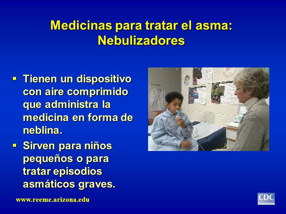 Medicinas para tratar el asma: Nebulizadores Tienen un dispositivo con aire comprimido que administra la medicina en forma de neblina. Tienen un dispo
