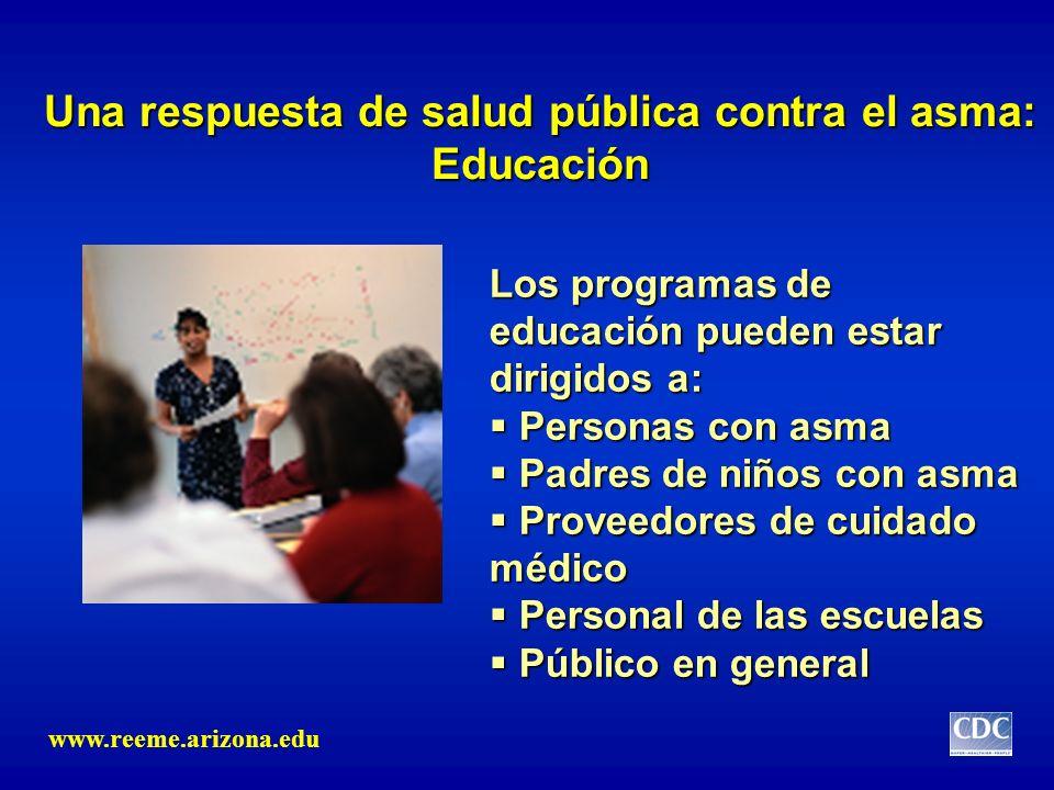Una respuesta de salud pública contra el asma: Educación Los programas de educación pueden estar dirigidos a: Personas con asma Personas con asma Padr