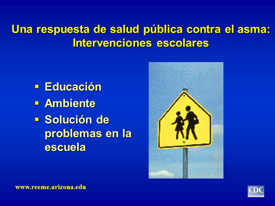 Una respuesta de salud pública contra el asma: Intervenciones escolares Educación Educación Ambiente Ambiente Solución de problemas en la escuela Solu