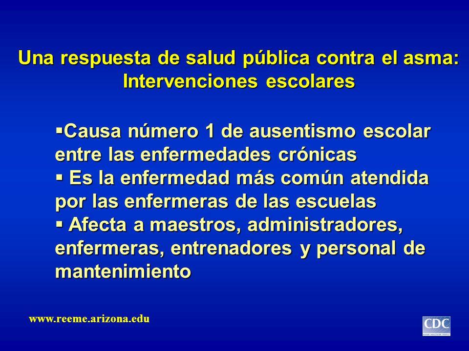 Una respuesta de salud pública contra el asma: Intervenciones escolares Causa número 1 de ausentismo escolar entre las enfermedades crónicas Causa núm