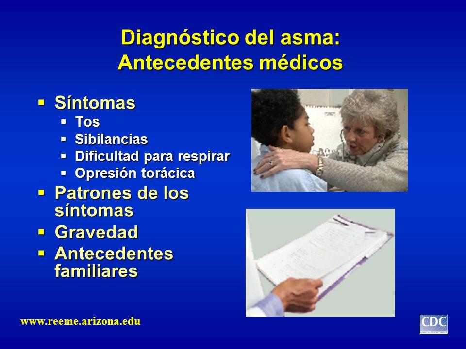Diagnóstico del asma: Antecedentes médicos Síntomas Síntomas Tos Tos Sibilancias Sibilancias Dificultad para respirar Dificultad para respirar Opresió