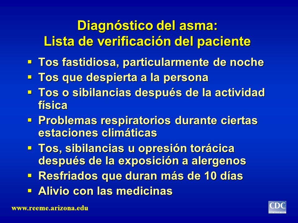 Diagnóstico del asma: Lista de verificación del paciente Tos fastidiosa, particularmente de noche Tos fastidiosa, particularmente de noche Tos que des