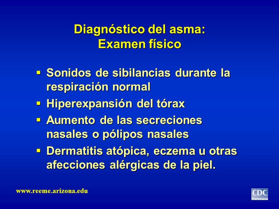 Diagnóstico del asma: Examen físico Sonidos de sibilancias durante la respiración normal Sonidos de sibilancias durante la respiración normal Hiperexp