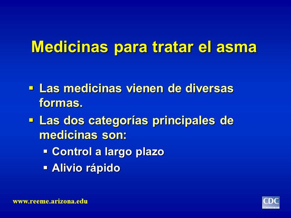 Medicinas para tratar el asma Las medicinas vienen de diversas formas. Las medicinas vienen de diversas formas. Las dos categorías principales de medi