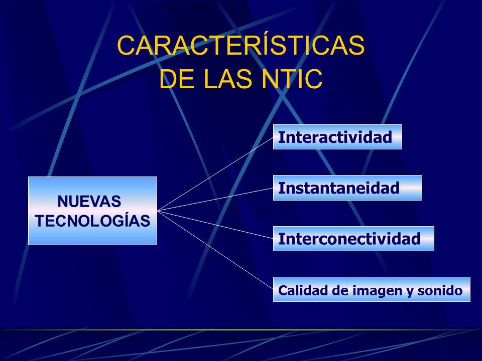 CARACTERÍSTICAS DE LAS NTIC NUEVAS TECNOLOGÍAS Interactividad Calidad de imagen y sonido Interconectividad Instantaneidad