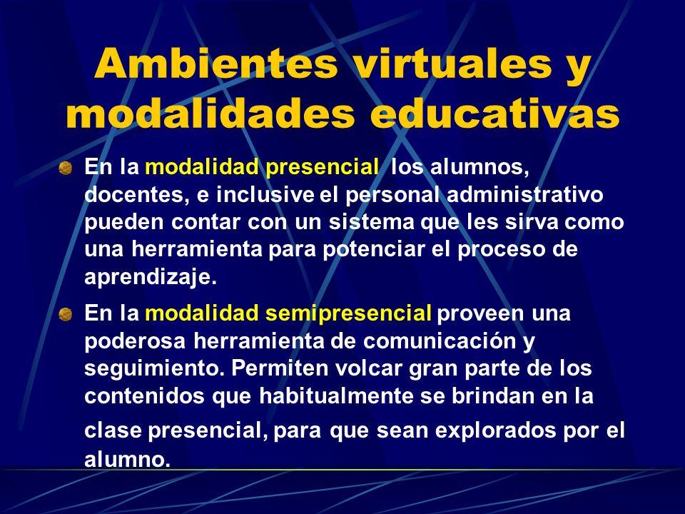 Ambientes virtuales y modalidades educativas En la modalidad presencial los alumnos, docentes, e inclusive el personal administrativo pueden contar con un sistema que les sirva como una herramienta para potenciar el proceso de aprendizaje.