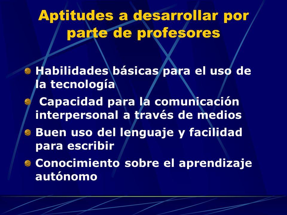 Aptitudes a desarrollar por parte de profesores Habilidades básicas para el uso de la tecnología Capacidad para la comunicación interpersonal a través de medios Buen uso del lenguaje y facilidad para escribir Conocimiento sobre el aprendizaje autónomo