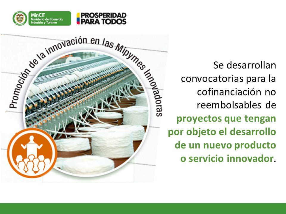 Se desarrollan convocatorias para la cofinanciación no reembolsables de proyectos que tengan por objeto el desarrollo de un nuevo producto o servicio