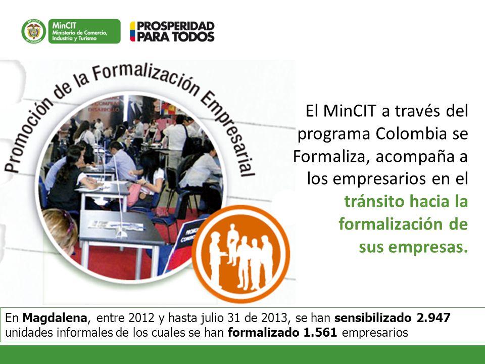 El MinCIT a través del programa Colombia se Formaliza, acompaña a los empresarios en el tránsito hacia la formalización de sus empresas. En Magdalena,