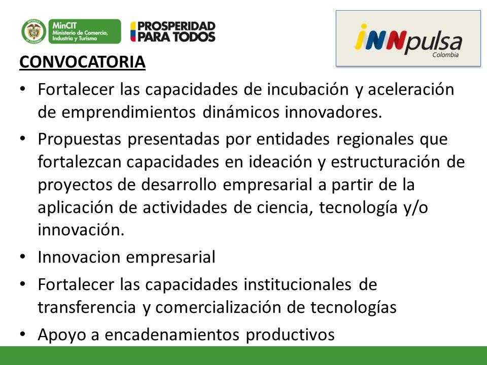 CONVOCATORIA Fortalecer las capacidades de incubación y aceleración de emprendimientos dinámicos innovadores. Propuestas presentadas por entidades reg