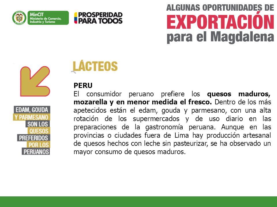 PERU El consumidor peruano prefiere los quesos maduros, mozarella y en menor medida el fresco. Dentro de los más apetecidos están el edam, gouda y par