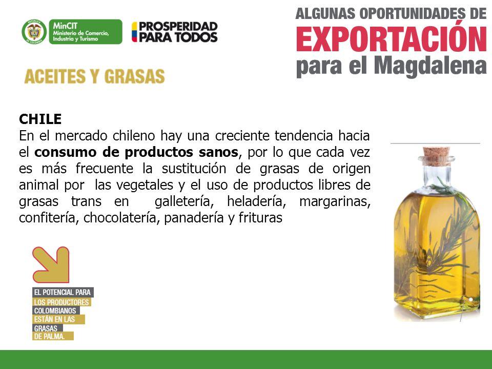 CHILE En el mercado chileno hay una creciente tendencia hacia el consumo de productos sanos, por lo que cada vez es más frecuente la sustitución de gr