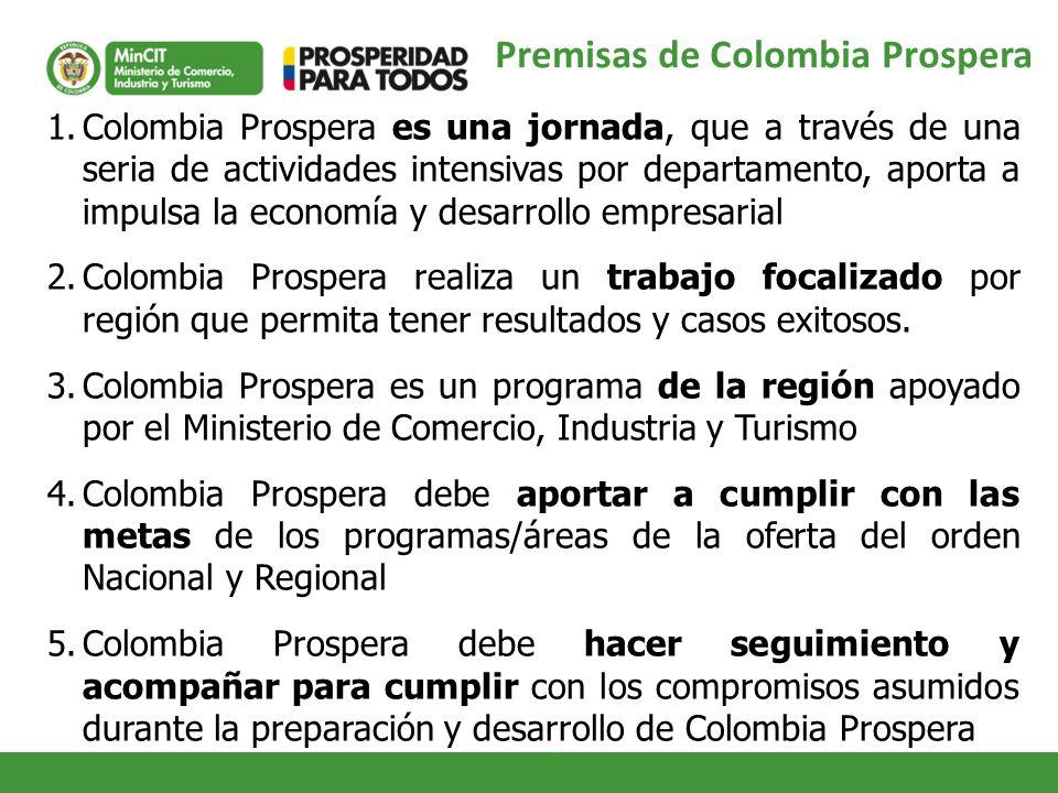 Premisas de Colombia Prospera 1.Colombia Prospera es una jornada, que a través de una seria de actividades intensivas por departamento, aporta a impul